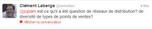 Tweet de Clément Laberge les enjeux de distribution